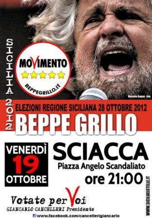 <strong>Beppe Grillo a Sciacca</strong> concluderà il tour agrigentino per il M5S
