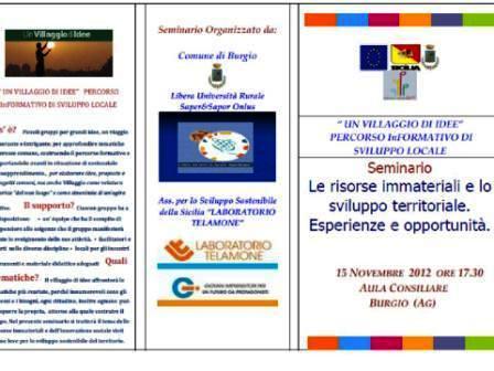 """<strong>Seminario</strong> """"Le risorse immateriali e lo sviluppo territoriale. Esperienze e opportunità"""""""