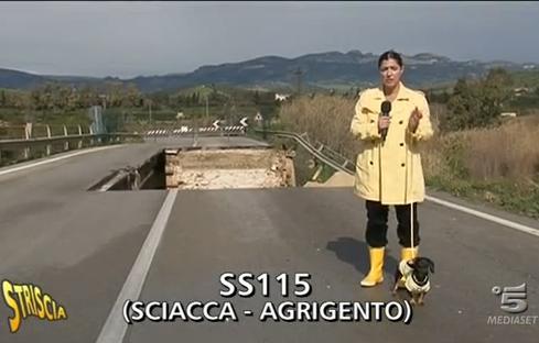 """Il video del crollo del ponte Verdura a <strong>""""Striscia la Notizia""""</strong>"""