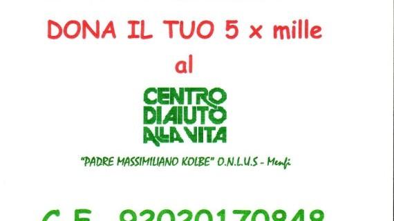 """<strong>Dona il tuo 5 x mille al C.A.V di Menfi</strong>, """"Padre Massimiliano Kolbe"""" O.n.l.u.s."""
