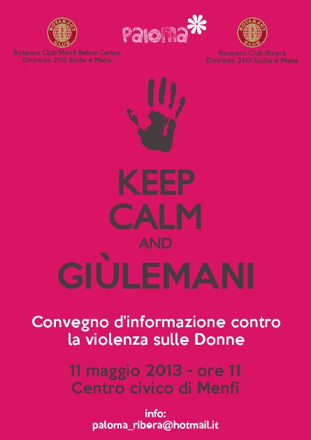 """<strong>""""Keep Calm and GiùLeMani""""</strong>: convegno del Rotaract Menfi contro la violenza sulle donne"""
