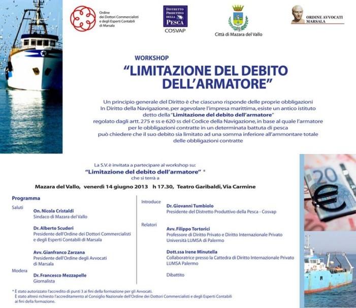 """""""Limitazione del debito dell'armatore"""", un workshop formativo a <strong>Mazara del Vallo</strong>"""