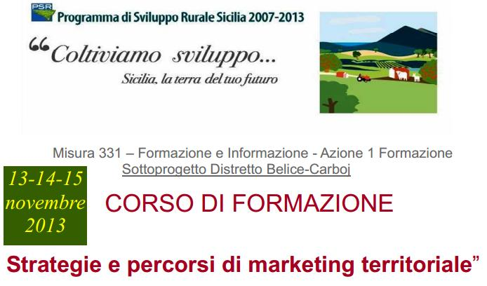 "<strong>Corso di Formazione</strong>: ""Strategie e percorsi di marketing territoriale"""