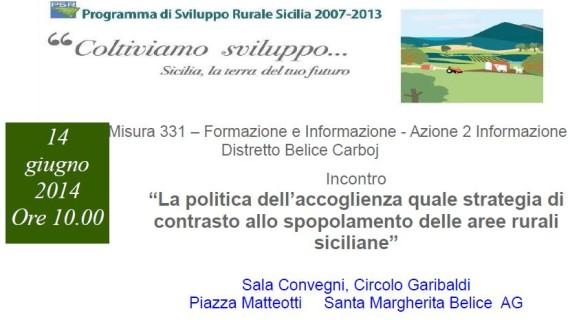 """Incontro sul tema: """"La politica dell'accoglienza quale strategia di contrasto allo spopolamento delle aree rurali siciliane"""""""