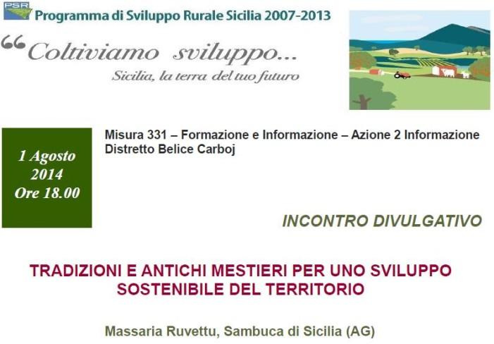 """<strong>Sambuca di Sicilia</strong>: Incontro divulgativo """"tradizioni e antichi mestieri per lo sviluppo sostenibile"""""""