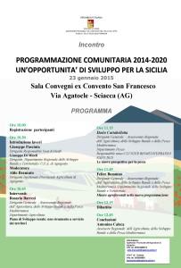 Locandina Incontro Nuova Programmazione Sciacca  23 gennaio 2015