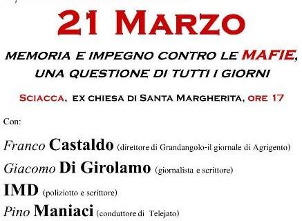 21 Marzo a <strong>Sciacca</strong>: memoria e impegno contro le mafie, una questione di tutti i giorni