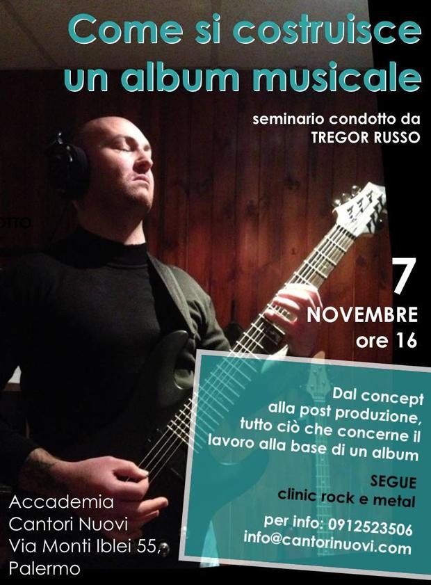 """""""Come si costruisce un album musicale"""": A Palermo prende il via il seminario a cura di Tregor Russo"""