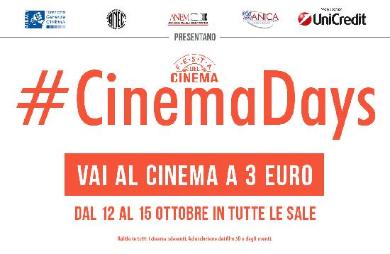 Film in sala a soli 3 euro dal 12 al 15 ottobre:  arriva CinemaDays