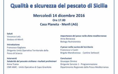 """A Menfi l'incontro dal titolo """"Pesce e dieta mediterranea – Qualita' e sicurezza del pescato di Sicilia"""""""