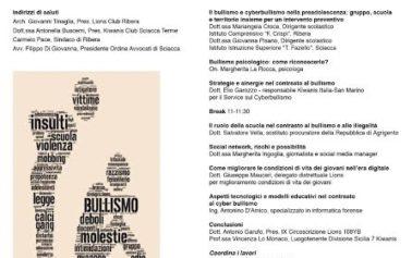 """Ribera, un convegno dal titolo: """"Bullismo e cyberbullismo: misure di prevenzione e di contrasto"""""""