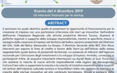 """Scienza: a Partanna il seminario dal titolo: """"Gli interventi finanziari per le Startup"""""""