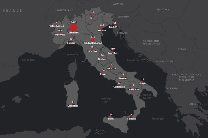 Coronavirus: Protezione Civile, online la mappa dei contagi in Italia